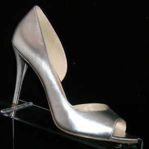 Nine West 'Dorey' silver leather d'orsay heel 7M